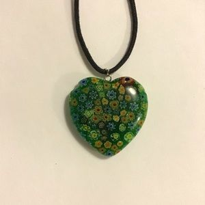Murano Style Heart Necklace with Flowers 11.5""